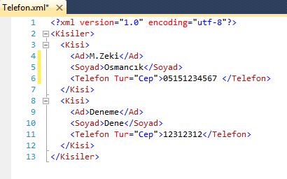 XML ile Telefon Defteri Yapalım !!