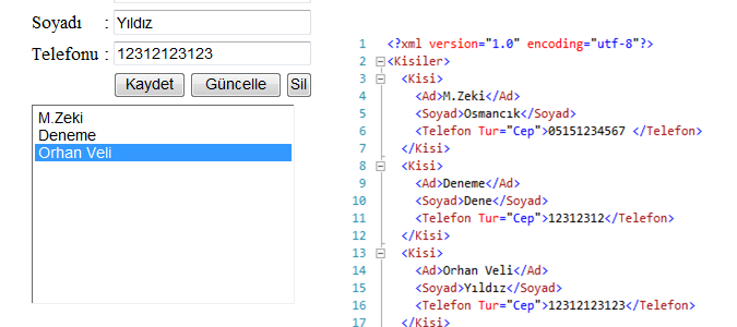 XML ile Telefon Defteri Yapalım 2!!